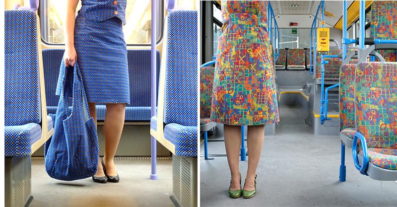 德國超狂藝術家把「公車座椅布變衣服」 一上車直接融入背景裡