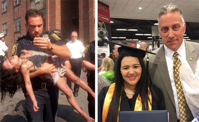 25位「地球變得更美好」的平民英雄 警察從火場救出小女孩...18年後參加了她的畢業典禮❤️️