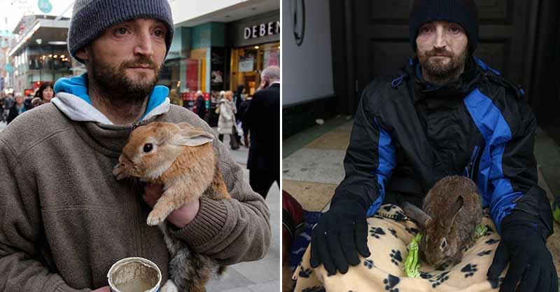 影/流浪漢的「寵物兔」被惡人丟進河 他跳水「心碎祈禱」網淚崩:上帝快顯靈…