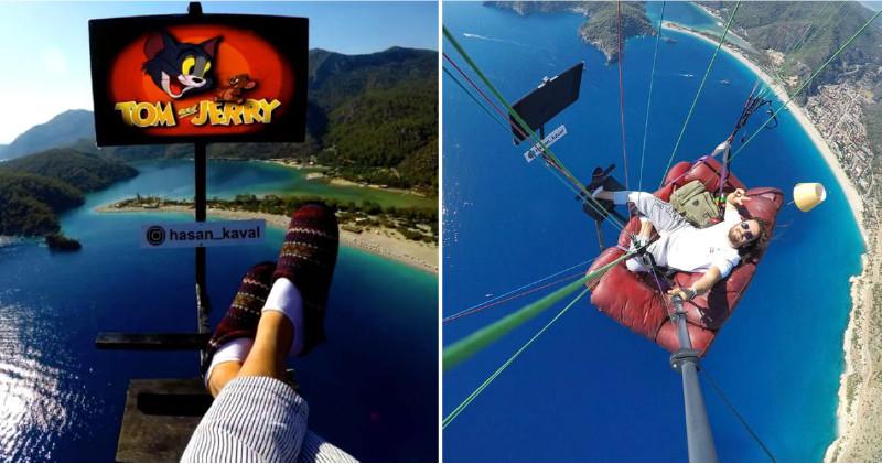 狂男挑戰「把整個客廳」帶去跳傘 在高空「換拖鞋」爽看電視